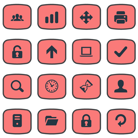 resize: Set Of 16 Simple Application Icons. Can Be Found Such Elements As Sand Timer, Computer Case, User.