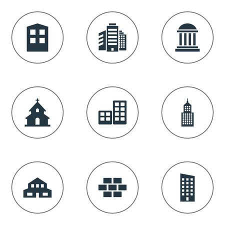 residential structure: Set Of 9 Simple Architecture Icons. Can Be Found Such Elements As Floor, Residential, Structure And Other.