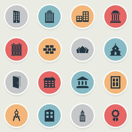 Set Of 16 Simple Construction Icons. Can Be Found Such Elements As Block, Popish, School And Other.