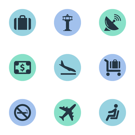 Set Of 9 Simple Transportation Icons. Can Be Found Such Elements As Alighting Plane, Handbag, Plane.
