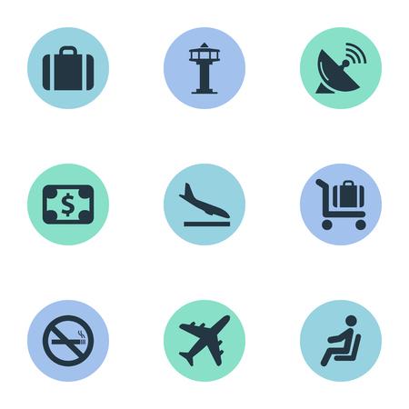 9 간단한 교통 아이콘의 집합입니다. Alighting Plane, Handbag, Plane 같은 요소를 찾을 수 있습니다. 일러스트