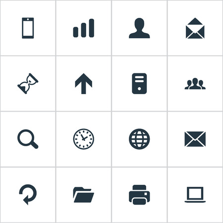 refresh rate: Set Of 16 Simple Application Icons. Can Be Found Such Elements As Watch, Magnifier, Community And Other. Illustration