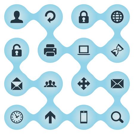 16 간단한 응용 프로그램 아이콘의 집합입니다. 노트북, 인쇄물, 커뮤니티 및 기타 등의 요소를 찾을 수 있습니다.