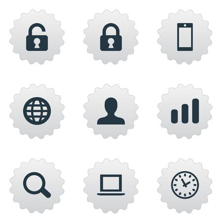 scrutiny: Set Of 9 Simple Application Icons. Can Be Found Such Elements As User, Statistics, Smartphone And Other.