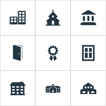 Set Of 9 Simple Construction Icons. Can Be Found Such Elements As Flat, Popish, Booth And Other.
