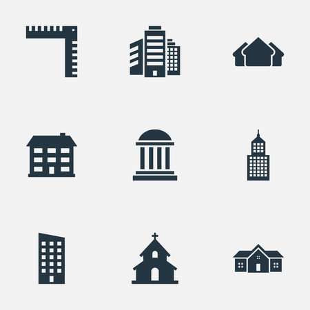 Set Of 9 Simple Structure Icons. Can Be Found Such Elements As Floor, Academy, Superstructure And Other.
