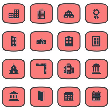 Set Of 16 Simple Construction Icons. Can Be Found Such Elements As Residence, Block, Superstructure And Other. Illustration