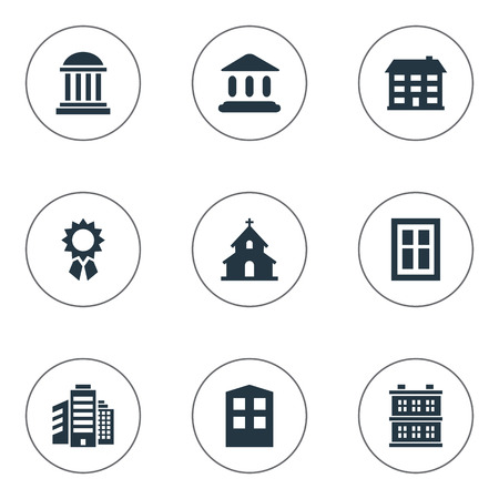 architectonics: Set Of 9 Simple Construction Icons. Can Be Found Such Elements As Superstructure, Booth, Construction And Other.