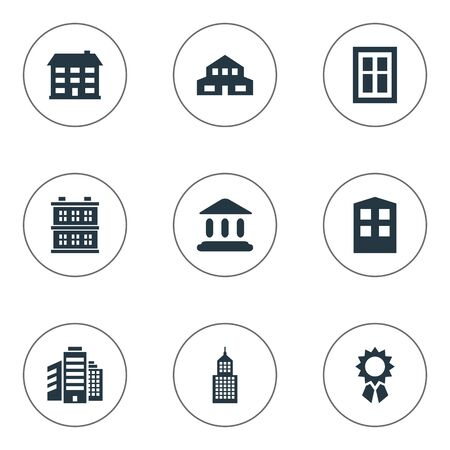 residential structure: Set Of 9 Simple Structure Icons. Can Be Found Such Elements As Residential, Structure, Glazing And Other.