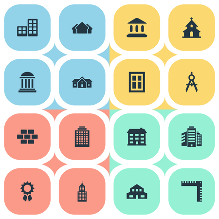 architectonics: Set Of 16 Simple Structure Icons. Can Be Found Such Elements As Popish, School, Offices And Other.