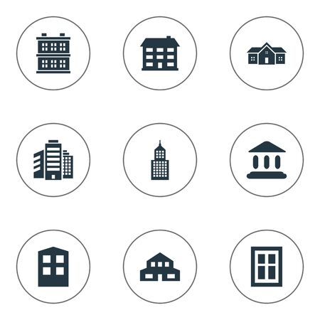 Set Of 9 Simple Architecture Icons. Can Be Found Such Elements As Block, Booth, Superstructure And Other. Illustration