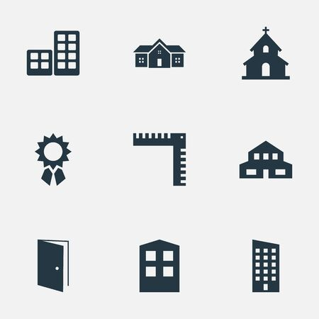 architectonics: Set Of 9 Simple Architecture Icons. Can Be Found Such Elements As Residential, Popish, Reward And Other.
