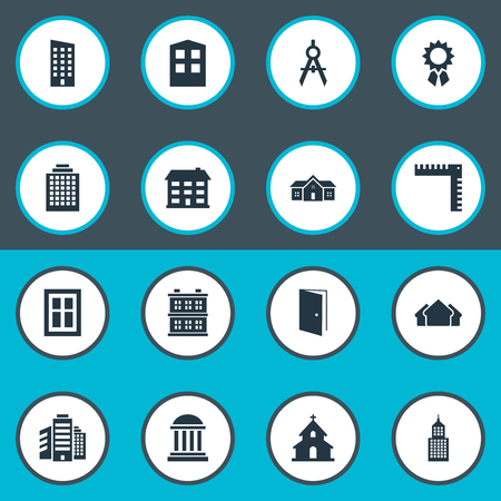architectonics: Set Of 16 Simple Architecture Icons. Can Be Found Such Elements As Construction, Popish, Engineer Tool And Other.
