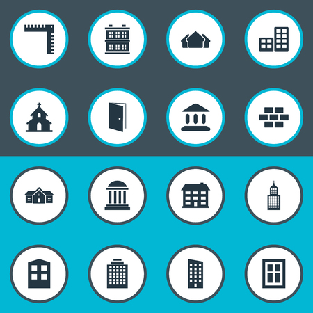 company premises: Set Of 16 Simple Architecture Icons. Can Be Found Such Elements As Floor, Shelter, Popish And Other.