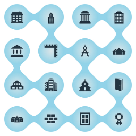 Set Of 16 Simple Architecture Icons. Can Be Found Such Elements As Academy, Shelter, Superstructure And Other.