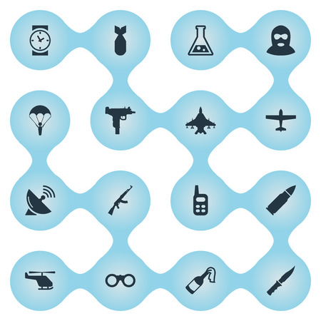Set Of 16 Simple Army Icons. Can Be Found Such Elements As Signal Receiver, Chemistry, Cold Weapon And Other.