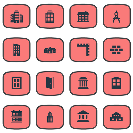 superstructure: Set Of 16 Simple Structure Icons. Can Be Found Such Elements As Superstructure, Floor, Block And Other. Illustration