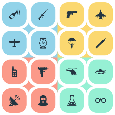 Set Of 16 Simple Terror Icons. Can Be Found Such Elements As Helicopter, Firearm, Signal Receiver And Other. Illustration