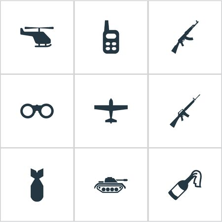 nuke: Set Of 9 Simple Terror Icons. Can Be Found Such Elements As Nuke, Field Glasses, Rifle Gun And Other.