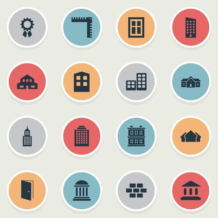 Set Of 16 Simple Structure Icons. Can Be Found Such Elements As Booth, Shelter, Offices And Other. Illustration