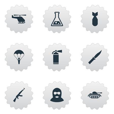 Set Of 9 Simple Battle Icons. Illustration