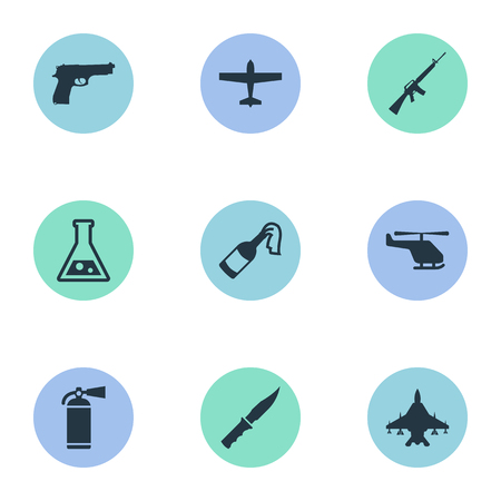 Set Of 9 Simple Battle Icons. Can Be Found Such Elements As Chemistry, Pistol, Rifle Gun And Other.