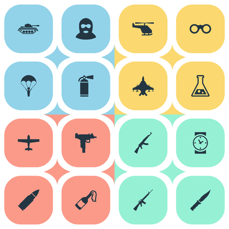 Set Of 16 Simple War Icons. Can Be Found Such Elements As Firearm, Sky Force, Kalashnikov And Other. Illustration