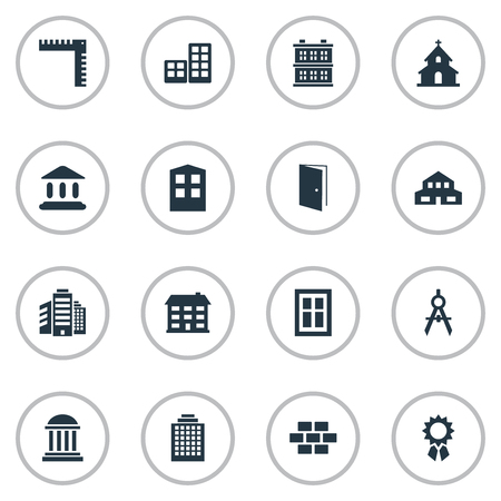 Set Of 16 Simple Structure Icons. Can Be Found Such Elements As Superstructure, Engineer Tool, Glazing And Other.