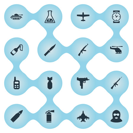 Set Of 16 Simple Battle Icons. Can Be Found Such Elements As Firearm, Walkies, Sky Force And Other. Illustration