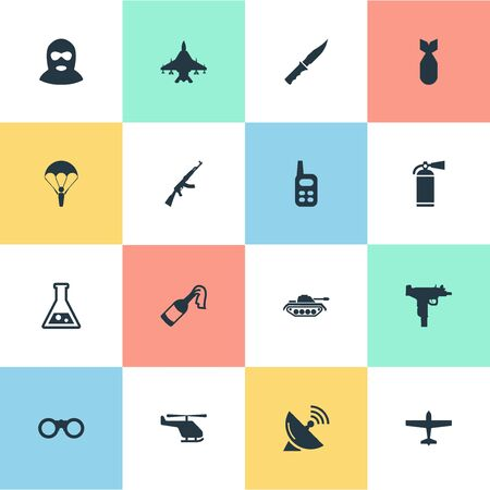 Set Of 16 Simple Army Icons. Can Be Found Such Elements As Molotov, Paratrooper, Terrorist And Other. Illustration