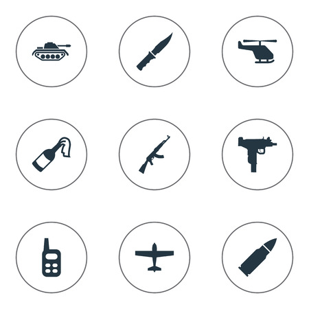 Set Of 9 Simple Terror Icons. Can Be Found Such Elements As Walkies, Helicopter, Ammunition And Other. Illustration