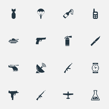 parachuter: Set Of 16 Simple Terror Icons. Can Be Found Such Elements As Chemistry, Air Bomber, Helicopter And Other.