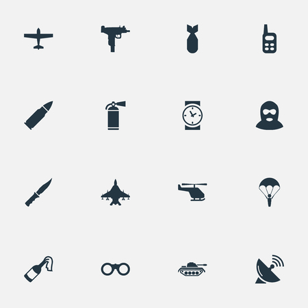 molotov: Set Of 16 Simple Military Icons. Can Be Found Such Elements As Molotov, Firearm, Signal Receiver And Other. Illustration