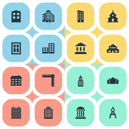 residency: Set Of 16 Simple Structure Icons. Can Be Found Such Elements As Popish, Construction, Glazing And Other. Illustration