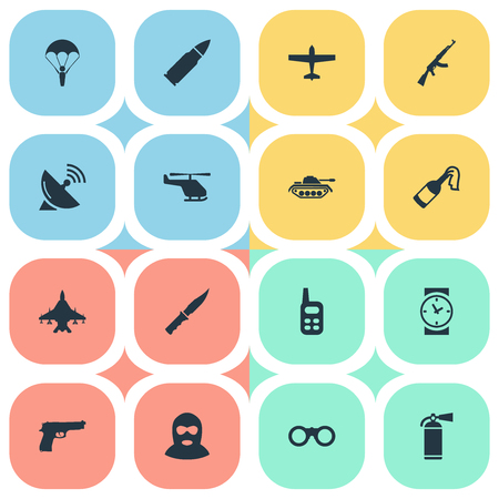 lanzamiento de bala: Set Of 16 Simple War Icons. Can Be Found Such Elements As Walkies, Kalashnikov, Helicopter And Other.