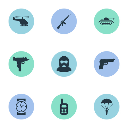 parachuter: Set Of 9 Simple Battle Icons. Can Be Found Such Elements As Rifle Gun, Terrorist, Pistol And Other.