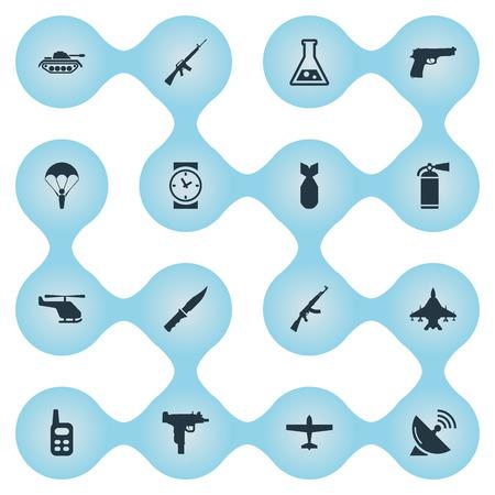 Set van 16 eenvoudige militaire pictogrammen. Elementen zoals Sky Force, Cold Weapon, Nuke And Other kunnen worden gevonden.