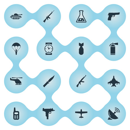 Set Of 16 Simple Military Icons. Can Be Found Such Elements As Sky Force, Cold Weapon, Nuke And Other. Illustration