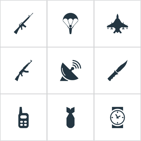 Set Of 9 Simple War Icons. Can Be Found Such Elements As Cold Weapon, Kalashnikov, Walkies And Other. Illustration