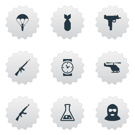 Set Of 9 Simple War Icons. Can Be Found Such Elements As Helicopter, Chemistry, Rifle Gun And Other.