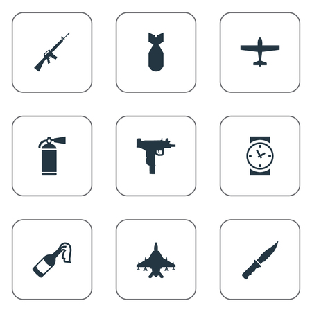 cold war: Set Of 9 Simple War Icons. Can Be Found Such Elements As Sky Force, Extinguisher, Cold Weapon And Other.