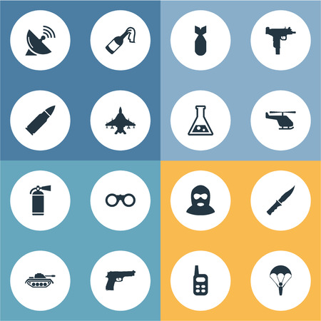 nuke: Set Of 16 Simple Army Icons. Can Be Found Such Elements As Field Glasses, Ammunition, Nuke And Other.
