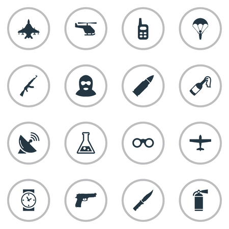 molotov: Set Of 16 Simple Terror Icons Such Elements As Pistol, Molotov, Air Bomber And Other. Illustration