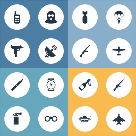 nuke: Set Of 16 Simple Battle Icons. Can Be Found Such Elements As Signal Receiver, Air Bomber, Nuke And Other.