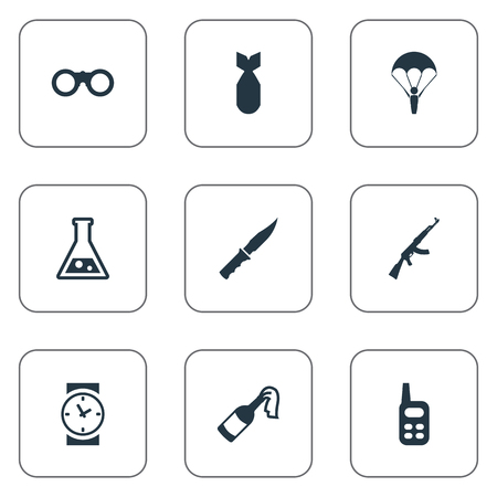 nuke: Set Of 9 Simple Army Icons. Can Be Found Such Elements As Molotov, Field Glasses, Nuke And Other. Illustration