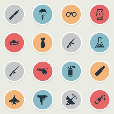 Set van 16 eenvoudige leger iconen. Elementen zoals brandblusapparaat, luchtmacht, horloge en andere zijn te vinden.