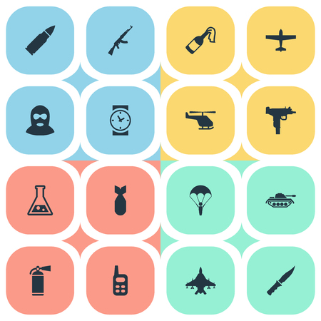 nuke: Set Of 16 Simple War Icons. Can Be Found Such Elements As Heavy Weapon, Air Bomber, Nuke And Other.