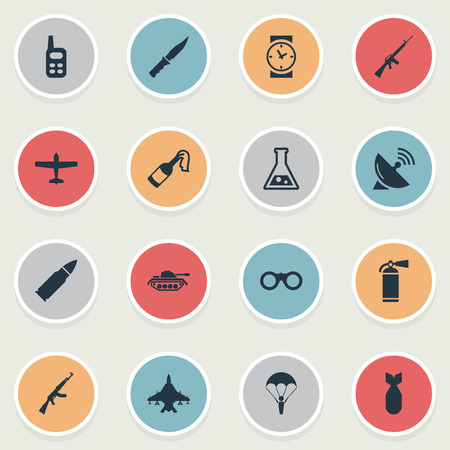 Set Of 16 Simple Army Icons. Can Be Found Such Elements As Rifle Gun, Chemistry, Ammunition And Other.