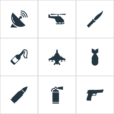 nuke: Set Of 9 Simple War Icons. Can Be Found Such Elements As Extinguisher, Helicopter, Nuke And Other.