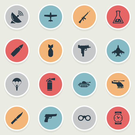 nuke: Set Of 16 Simple Terror Icons. Can Be Found Such Elements As Ammunition, Nuke, Watch And Other.